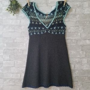 Free People gray and blue sleeveless dress